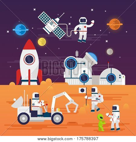 Astronauts characters set in flat cartoon style. Human spaceman and a cute extraterrestrial. Set of universe infographic vector illustration with rocket, satellite, space station, planets, stars, Mars