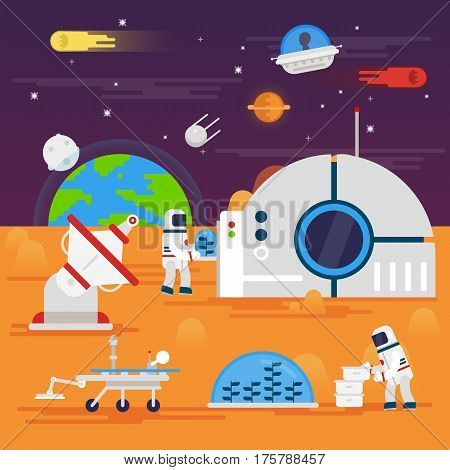 olonization of Mars. Space landscape, rover, astronaut , earth, planets, stars, comets, moon, clouds mountains space station satellite space infographics elements - flat vector illustration