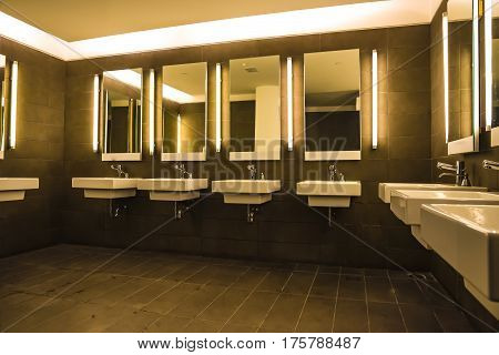 Commercial bathroom for washing hands Sinks and mirrors