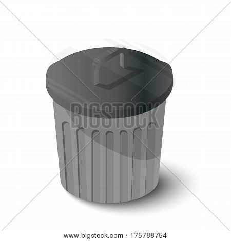 Bin icon. Isometric illustration of bin vector icon for web