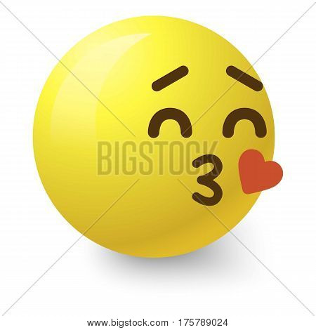 Kissing smiley icon. Cartoon illustration of kissing smiley vector icon for web