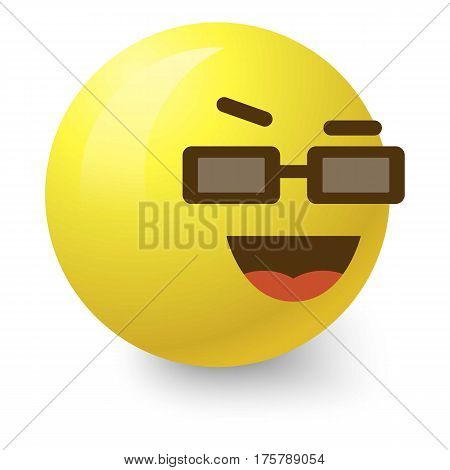 Cool smiley icon. Cartoon illustration of cool smiley vector icon for web