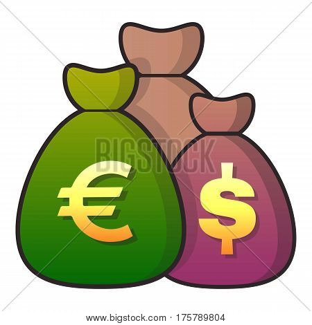 Money bag icon. Flat illustration of money bag vector icon for web