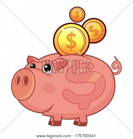 Piggy bank icon. Flat illustration of piggy bank vector icon for web