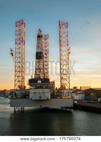 Oil rig in the port of IJmuiden, Netherlands for maintenance