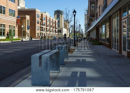 MINNEAPOLIS USA - APRIL 11 2012: street view in the afternoon without people