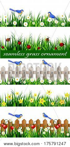 Green Grass with strawberries on wooden rustic fence background seamless isolated clip art vector on white and bluebirds big set