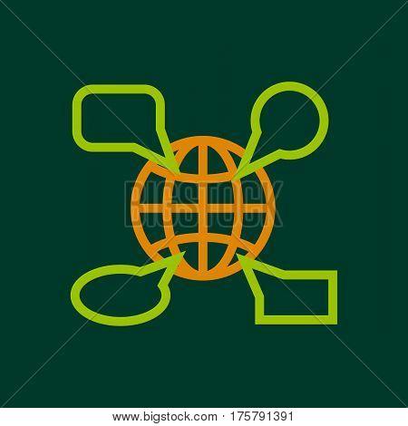 Globe launguage icon. Outline illustration of globe launguage vector icon for web