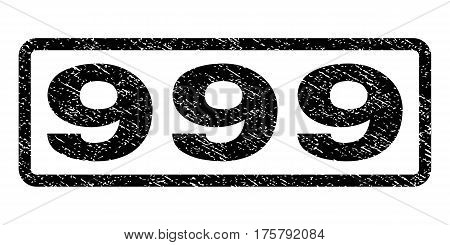 999 watermark stamp. Text tag inside rounded rectangle with grunge design style. Rubber seal stamp with dust texture. Vector black ink imprint on a white background.
