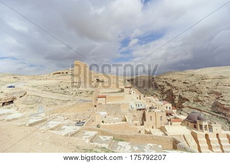 Bethlehem, Israel. - February 14.2017. View Of The Lavra Of Sawa Sanctified In The Judean Desert.