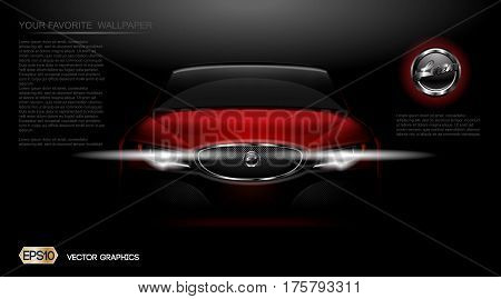 Digital vector red modern sport car mockup, ready for print or magazine design. Your brand, white lights on. Black background. Transparent, realistic 3d, reflection