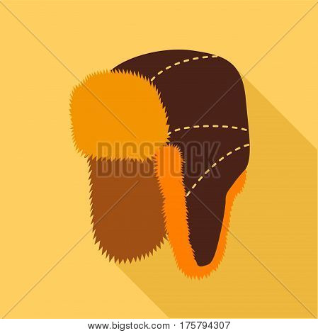 Earflap hat icon. Flat illustration of earflap hat vector icon for web