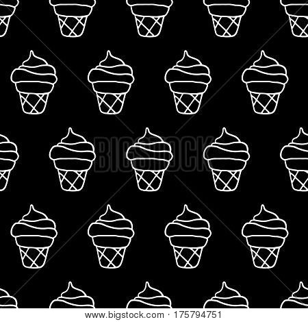 Trendy sweet pattern with hand drawn ice cream. Whimsical vector black and white sweet pattern. Seamless monochrome sweet pattern for fabric, wallpapers, wrapping paper, cards and web backgrounds.