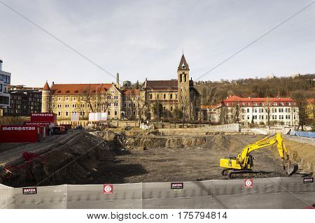 Prague, Czech Republic - March 3: Construction Site In Front Of Cloister And The Annunciantion Churc