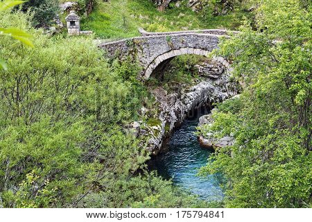 Old traditional stone bridge in Thessaly, Greece