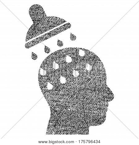 Brain Washing vector textured icon for overlay watermark stamps. Black jeans fabric vectorized texture. Symbol with unclean design. Black ink rubber seal stamp with fiber textile structure.