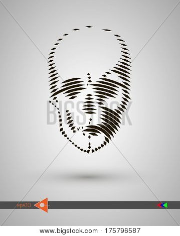 Vector Halftone Skulls. Skull Icon. Symbol Of Death, Danger, War, Death, Pirate. Object On A White B