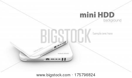 Hdd, background of mini hard disk drive white, 3d Illustration