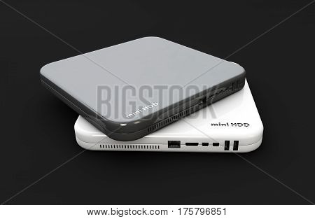 Hdd, mini hard disk drive white and dark colors, components, 3d Illustration, isolated black