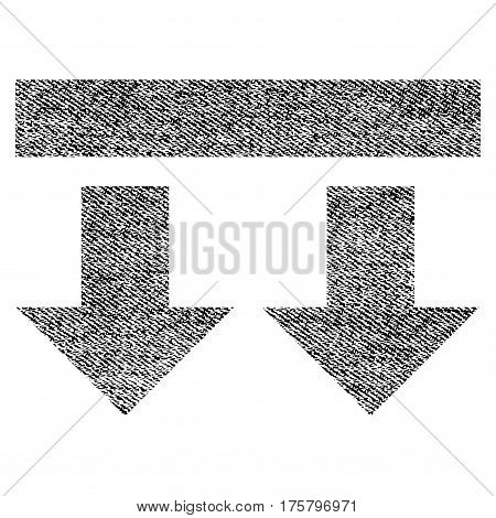 Bring Down vector textured icon for overlay watermark stamps. Black jeans fabric vectorized texture. Symbol with dirty design. Black ink rubber seal stamp with fiber textile structure.