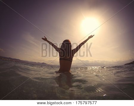 Photo Of Beautiful Young Woman Swimming In The Clear Sea In Sunny Greece