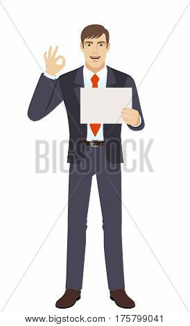 Businessman showing a a paper and show a okay hand sign. Full length portrait of businessman in a flat style. Vector illustration.