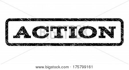 Action watermark stamp. Text caption inside rounded rectangle frame with grunge design style. Rubber seal stamp with dirty texture. Vector black ink imprint on a white background.