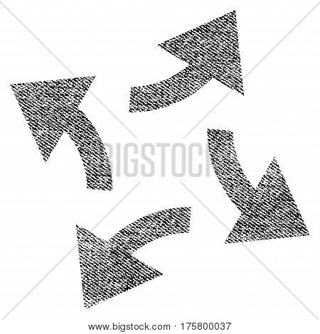 Centrifugal Arrows vector textured icon for overlay watermark stamps. Black jeans fabric vectorized texture. Symbol with dust design. Black ink rubber seal stamp with fiber textile structure.