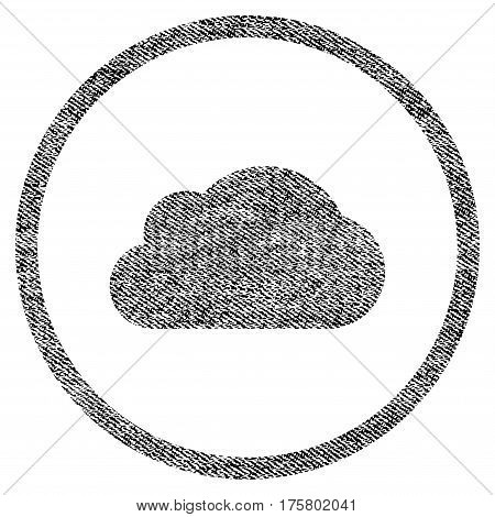 Cloud vector textured icon for overlay watermark stamps. Black jeans fabric vectorized texture. Symbol with dirty design. Black ink rubber seal stamp with fiber textile structure.