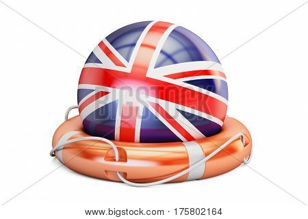 Lifebelt with UK flag safe help and protect concept. 3D rendering