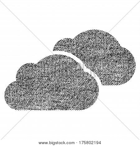 Clouds vector textured icon for overlay watermark stamps. Black jeans fabric vectorized texture. Symbol with dust design. Black ink rubber seal stamp with fiber textile structure.