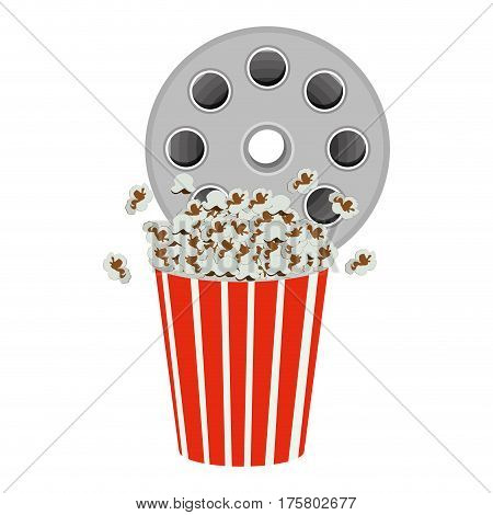 color movie film clipart with pop corn icon, vector illustraction design