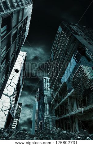 Detailed destruction of fictitious desolate city with demolition and rubble. Concept of war natural disasters judgement day fire nuclear accident or terrorism. Vertical orientation.