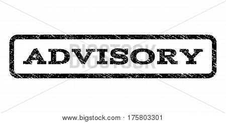 Advisory watermark stamp. Text caption inside rounded rectangle frame with grunge design style. Rubber seal stamp with scratched texture. Vector black ink imprint on a white background.