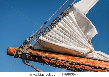 Bowsprit and gathered sail of a large sailing ship in Amaliehaven in Copenhagen Denmark