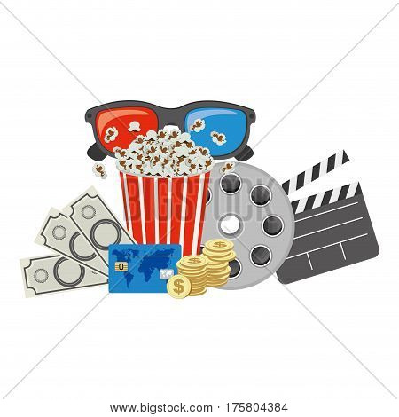 color pop corn, 3d glasses, clapper board and money, vector illustraction
