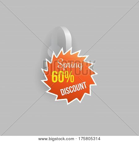 Vector orange wobbler shape mockup with transparent strip and grey background. Sale message template for your hanging shelf tag design.