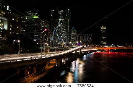 Brisbane, Queensland, Australia on August 16, 2016: View of Brisbane at night