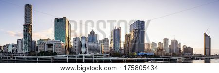 Brisbane, Queensland, Australia on August 17, 2016 - Early morning skyline panorama