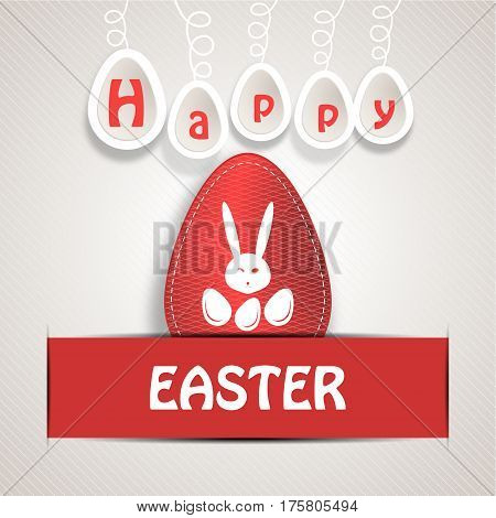Vector poster of Easter paper red egg with line pattern stitching rabbit head white silhouette eggs and text insert in red pocket on the gradient gray background.