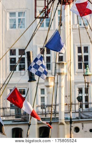 Colorful Flags On Old Sailing Boat