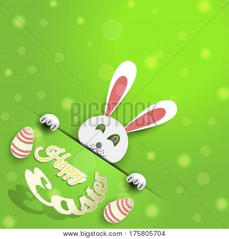 Vector poster of Happy Easter on the gradient green background with rabbit egg radiance and text cut from paper.