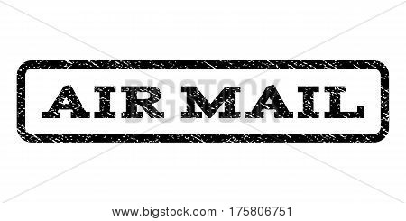 Air Mail watermark stamp. Text caption inside rounded rectangle with grunge design style. Rubber seal stamp with scratched texture. Vector black ink imprint on a white background.