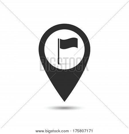 Map pointer with symbol flag and finish. For location maps. Mark icon. Sign for gps navigation. Pointer location. Vector isolated ilustration.