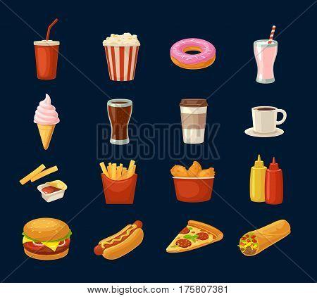 Set fast food icon. Cup cola coffee donut ice cream milkshake hamburger burrito chicken legs hotdog fry potato popcorn ketchup. Isolated on dark background. Vector flat color illustration