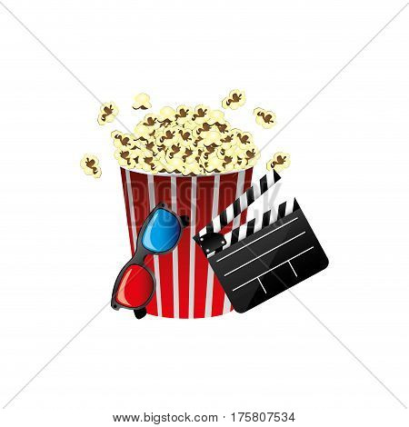 pop corn, film production, film board and 3d glasses, vector illustraction