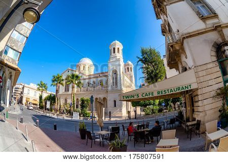 LIMASSOL CYPRUS - MARCH 18 2016: Street cafe terrace in old town of Limassol City.