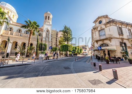 LIMASSOL CYPRUS - MARCH 18 2016: Agiou Andreou street a historic center of Limassol town.