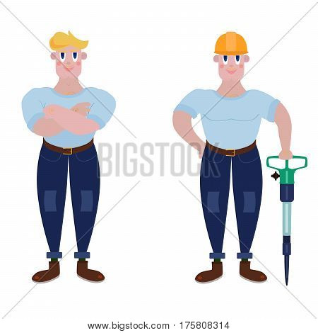 A strong worker with a jackhammer and a helmet or standing with his arms crossed. A man of muscle with arms crossed in a T-shirt and jeans