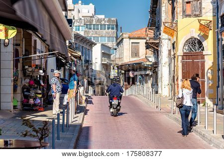 LIMASSOL CYPRUS - APRIL 01 2016: Shops and Cafe on Agiou Andreou Street in the Old Town of Limassol.
